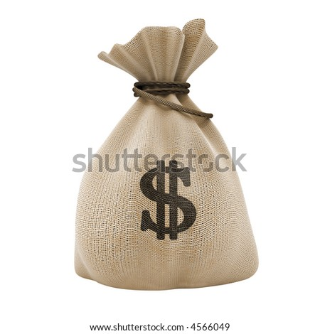 sack with money dollar currency isolated with clipping path included