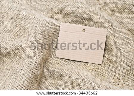 Sackcloth and cardboard tag