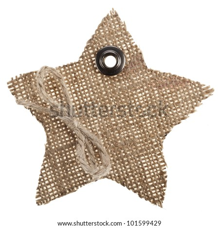 Sackcloth Tag Label Star  isolated on white background