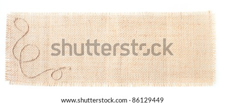 sackcloth tags with decor over white