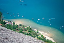 Saco do Mamanguá, located near Paraty, state of Rio de Janeiro, is a narrow long sea area, which goes for 8 km until it reaches a well preserved mangrove forest, with rivers and waterfalls/View/Fjord