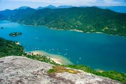 Saco do Mamanguá located near Paraty state of Rio de Janeiro is a narrow long sea area which goes for 8 km until it reaches a well preserved mangrove forest with river and waterfal/Paradise View/Fjord