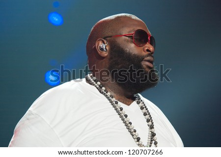 SACRAMENTO, CA - December 1: Rick Ross performs in his MMG Tour featuring Machine Gun Kelly, Meek Mill, and Wale Folarin at Sleep Train Arena in Sacramento, California on December 1, 2012.