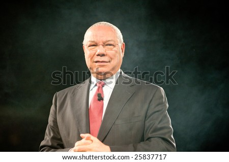 "SACRAMENTO, CA - February 24, 2009: General Colin Powell speaking at a ""Get Motivated"" Seminar at the Arco Arena in Sacramento, California."