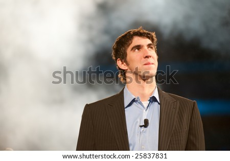 "SACRAMENTO, CA - February 24, 2009: Michael Phelps speaking at a ""Get Motivated"" Seminar at the Arco Arena in Sacramento, California."