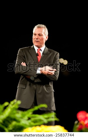 "SACRAMENTO, CA - February 24, 2009: Phil Town speaking at a ""Get Motivated""  Seminar at the Arco Arena in Sacramento, California."