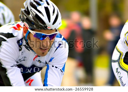 SACRAMENTO, CA - February 14, 2009: Saxo Bank, team cyclist racing at Amgen Tour of California, bicycles during the time trials in Sacramento, California on Feb. 14, 2009.