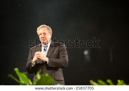 "SACRAMENTO, CA - February 24, 2009: Steve Forbes speaking at a ""Get Motivated"" Seminar at the Arco Arena in Sacramento, California."