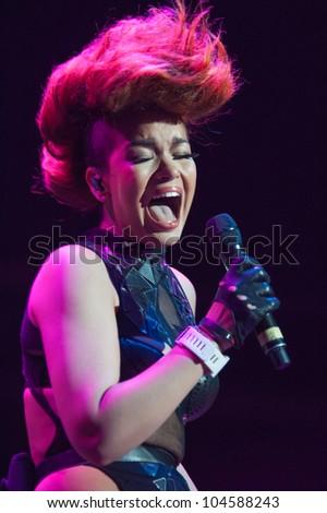 SACRAMENTO, CA - JUNE 6: Eva Simons performs in LMFAO's tour at Power Balance Pavilion in Sacramento, California on June 6, 2012 - stock photo