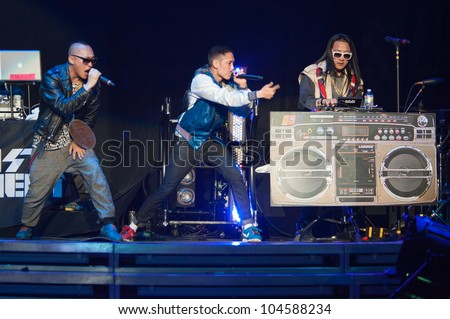 SACRAMENTO, CA - JUNE 6: Far East Movement performs in LMFAO's tour at Power Balance Pavilion in Sacramento, California on June 6, 2012