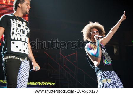 SACRAMENTO, CA - JUNE 6: LMFAO's Sorry For Party Rocking Tour at Power Balance Pavilion in Sacramento, California on June 6, 2012 - stock photo