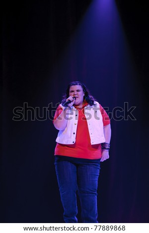 SACRAMENTO, CA - MAY 23: Ashley Fink perform at the Glee Live! In Concert! tour at the Power Balance Pavilion on May 23, 2011 in  Sacramento, California.