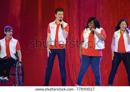 SACRAMENTO, CA - MAY 23: Kevin McHale, Chris Colfer, Amber Riley and Jenna Ushkowitz  perform at the Glee Live! In Concert! tour at the Power Balance Pavilion on May 23, 2011 Sacramento, California.
