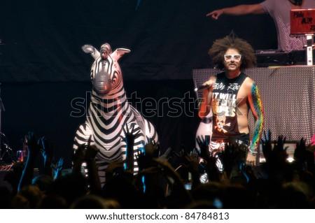 SACRAMENTO, CA - SEPT 13: Redfoo of LMFAO performs at U.C. Davis in Davis, California on September 13th, 2011