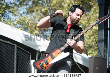 SACRAMENTO, CA - SEPTEMBER 23: Dean Bernardini of Chevelle performs as part of the Aftershock Music Festival at Discovery Park on September 23, 2012 in Sacramento, California.