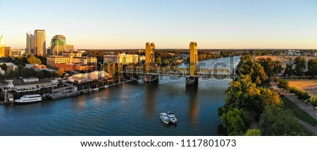 Sacramento Downtown by the river and tower bridge  #1117801073