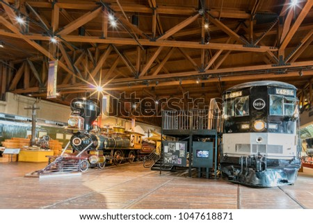 Sacramento, FEB 22: Interior view of the California State Railroad Museum on FEB 22, 2018 at Sacramento, California