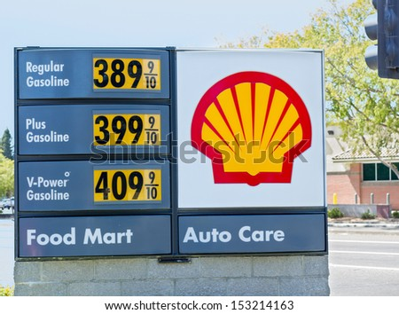 SACRAMENTO, USA - SEPTEMBER 5, 2013: High Shell gas price on September 5, 2013 in Sacramento, California. California holds the leading position in continental US for the fuel cost.