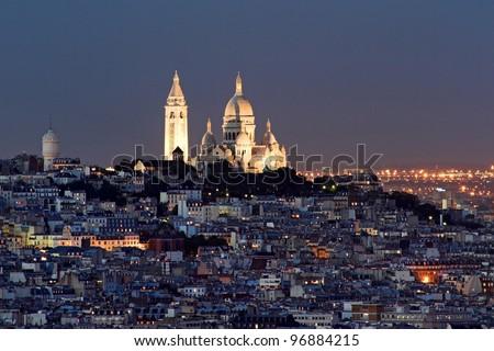 Sacre coeur at the summit of Montmartre, Paris