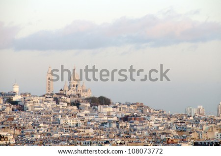 Sacre coeur at the summit of Montmartre, Paris - France - stock photo