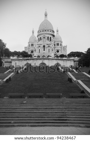 Sacre Coeur Basilica in Montmartre, Paris, France - black and white