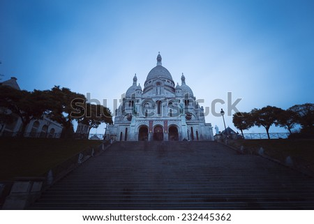 Sacre-Coeur Basilica in the historic district of Montmartre in Paris,France