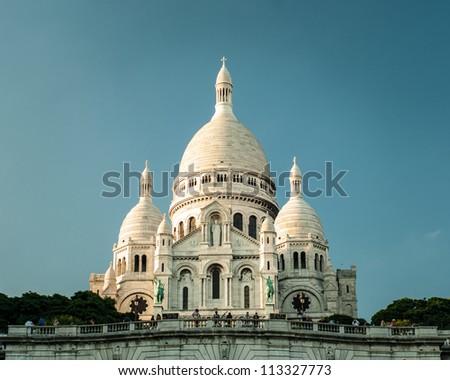 Sacre coeur Cathedral at dusk, paris,france