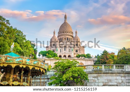 Sacre Coeur Cathedral on Montmartre Hill in Paris, France Photo stock ©