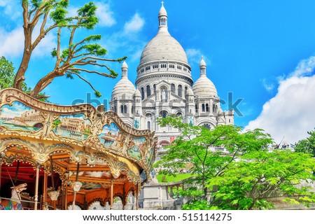 Sacre Coeur Cathedral on Montmartre Hill, Paris. France.
