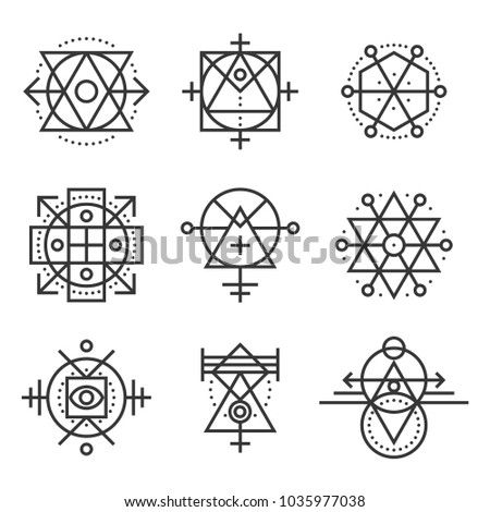 Sacred Geometry Elements and Hipster Symbols Set.