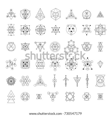 Sacred geometry signs collection. Linear modern art design elements set. Alchemy, religion, philosophy, spirituality, creativity, astrology, esoteric, hipster symbols