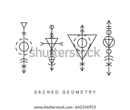 Sacred geometry signs set. Linear Modern Art. Alchemy, religion, philosophy, spirituality, creativity, astrology, esoteric, hipster symbols