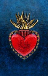 Sacred Heart of Jesus, hand carved and gilded leather detail mounted to the blue book cover