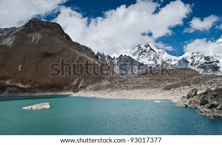 Sacred Lake and mountain peaks not far from Gokyo in Himalayas. Altitude 4800 m