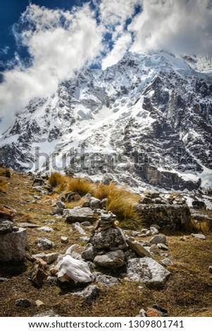 Sacred Mountain Salcantay 6271 m n.p.m. Cordillera Vilcabamba. Foto stock ©