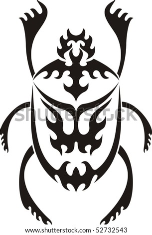 stock photo : Sacred scarab tribal tattoo