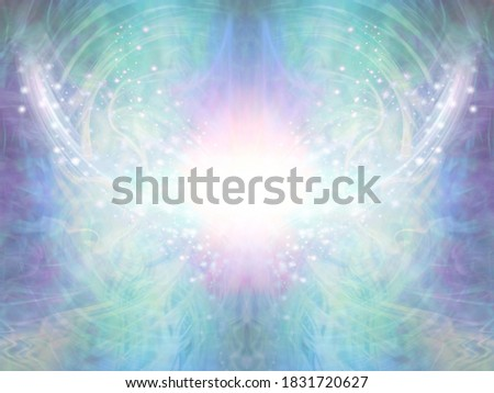 Sacred Spiritual Healing Light Background - shimmering sparkling brilliant white light centre with an intricate blue green energy form radiating outwards and upwards