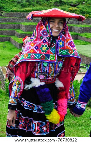 SACRED VALLEY, PERU - MARCH 09: Traditional peruvian bride during wedding ceremony in Sacred Valley near Cuzco, Peru on March 09, 2010.