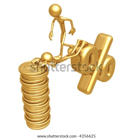 Sacrifice Bridge Between Percentage Symbol And Gold Dollar Coin Stack