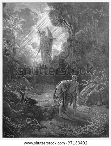 sacrifices driven out of Eden - Picture from The Holy Scriptures, Old and New Testaments books collection published in 1885, Stuttgart-Germany. Drawings by Gustave Dore. - stock photo