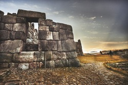 SACSAYHUAMAN, CUZCO, PERU - MAY 30, 2015: The walled Inca complex of Sacsayhuaman along the Sacred Valley of the Incas near Cuzco, Peru. UNESCO World Heritage site.