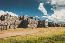 Sacsayhuaman fortress in Cusco, Peru. Inca ruins in Cusco or cuzco town.