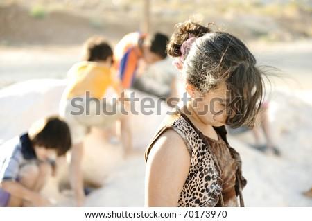 sad abused girl - stock photo