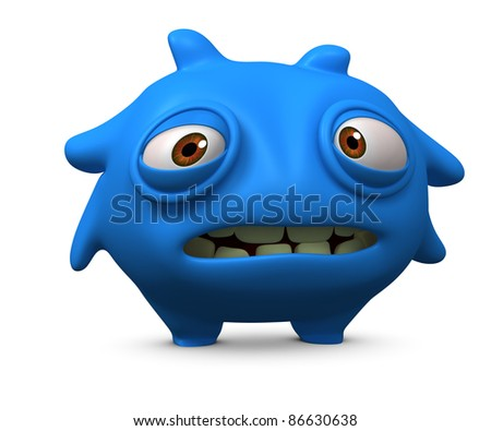 sad blue alien - stock photo