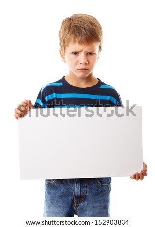 Sad boy standing with empty horizontal blank in hands, isolated on white