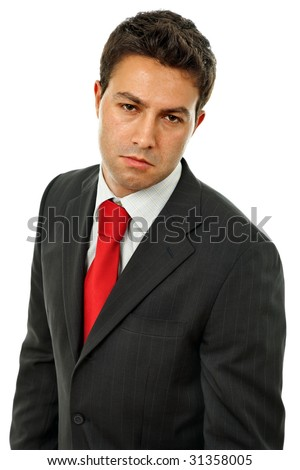 sad business man isolated over a white background