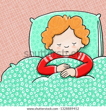 Sad child feeling ill, laying in bed with a stomach ache. Colorful illustration for educational projects.