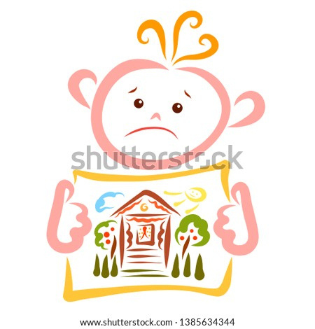 Sad child holding a piece of paper with painted house, garden and cheerful sun