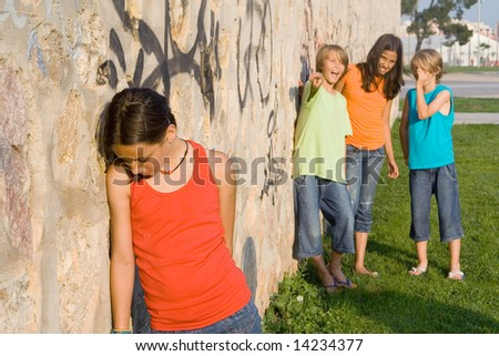 stock photo : sad child, school bully