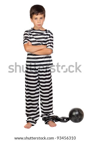 Sad child with prisoner ball isolated on white background